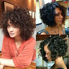 Virgin Human Hair Lace Front Wig Brazilian Hair Curly Bob Wigs with Baby Hair Bob Haircut Curly, Short Curly Wigs, Curly Bob Hairstyles, Curly Hair Styles, Natural Hair Styles, Black Hairstyles, Wig Bob, Trendy Hairstyles, Medium Curly Bob