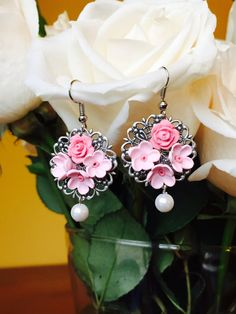 spring collection  Floral pink Polymer Clay by TrendyCraftStudio