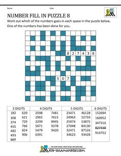 printable number puzzles number fill in puzzle 8 Fill In Puzzles, Number Puzzles, Logic Puzzles, Printable Crossword Puzzles, Printable Numbers, Statement Template, Research Paper Outline, 5th Grade Math, Free Math