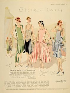 McCall's magazine, 1927 featuring McCall 5093 and 5103 both by Chanel, 5076 by Lina Mouton and 5077 by Brisac
