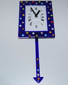 Pendulum CLOCK BLUE Murrina MILLEFIORI 14 Inches MURANO Glass by MORBIDEIDEE