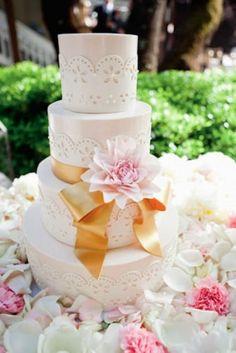 Lace Wedding Cake Detail | Sweet On Cake