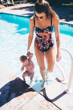 mommy daughter swim
