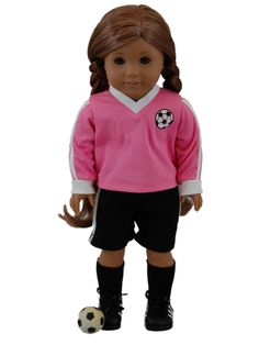Now your doll can join you at your sport outings with this adorable soccer set!