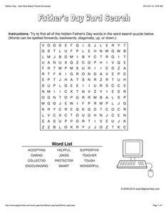 Father's Day word search puzzle with a computer. 4 levels of difficulty. Word search changes each time you visit