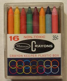 Whitman Crayons PLASTIC Box of 16 Vintage 1960s.  I loved the crayons that came in plastic cases like this.