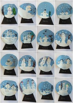 Vorschule Basteln Winter – Rebel Without Applause Christmas Art Projects, Winter Art Projects, Winter Crafts For Kids, Art For Kids, Snow Globe Crafts, Xmas Crafts, Theme Noel, Kindergarten Art, Art Classroom