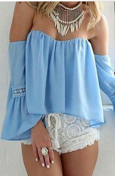 Off-shoulder Long Sleeves Sexy Falbala Casual Blouse