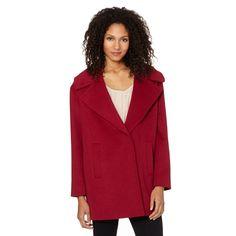 Betty Jackson.Black Designer dark purple high neck boucle coat- at ...