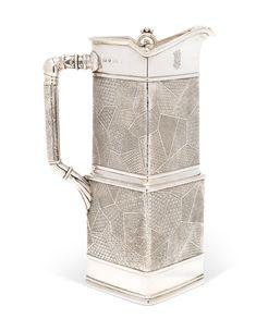 A 'KOMAI' SILVER COFFEE POT DESIGNED BY CHRISTOPHER DRESSER (1834-1904), MARK OF FREDERICK ELKINGTON, BIRMINGHAM, 1880 | Christie's Christopher Dresser, Gold Box, Japanese Design, Makers Mark, Tea Set, Birmingham, Metal Working, Antique Silver