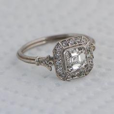 so pretty - Vintage Asscher Cut Diamond Engagement Ring - Diamond Halo - 1.01 carat - GIA - VS1 clarity - G color - Estate Diamond Jewelry