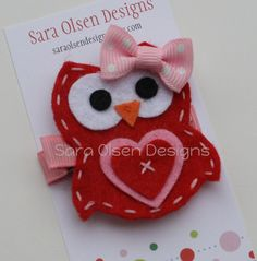 Owl Hair Clip Hair Clippie Owl with Polka Dot by SaraOlsenDesigns, $3.75