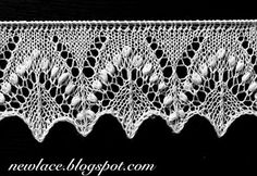 """Pattern of the edge lace motives """"Silvia"""" is inspired by the traditional stitch motif """"Silvia"""" which is enriched with great amount of nupps. The edge lace is forming a zigzag edge with changing textures."""
