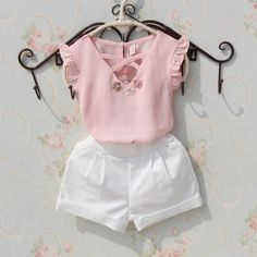 Kids blouse summer 2018 t-shirts for teenage girls large white chiffon blouses for girls flower design Tops fashion clothes for girls - Fashion - [post_tags Dresses Kids Girl, Kids Outfits Girls, Shirts For Girls, Girls Fashion Clothes, Baby Girl Fashion, Kids Fashion, Kids Clothing, Baby Outfits, White Chiffon Blouse