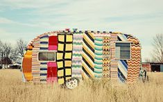 yarnbombed caravan