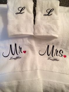 Embroidered Monogrammed Wedding Gift Towels, Mr & Mrs towels, Bride and Groom towels, wedding gift Embroidery Monogram Fonts, Towel Embroidery, Embroidery Designs, Bridal Shower Gifts, Bridal Gifts, Wedding Gifts, Wedding Decor, Wedding Ideas, Embroidered Gifts