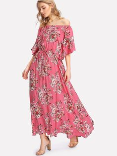 6b8857649520 Shop Flower Print Drawstring Waist Bardot Dress online. SheIn offers Flower  Print Drawstring Waist Bardot Dress & more to fit your fashionable needs.
