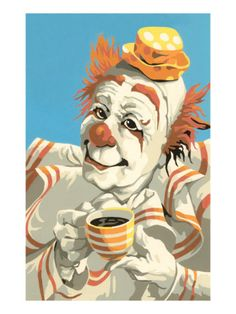 Paint by Numbers Coffee Clown Giclee Print