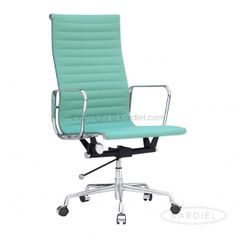 Classic 1958 Lider Ribbed High Back Aluminum Office Chair, Aqua Leatherette |