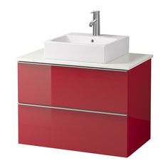 "GODMORGON/ALDERN / TÖRNVIKEN Vanity, countertop and 17 3/4"" sink - high gloss red, white - IKEA"