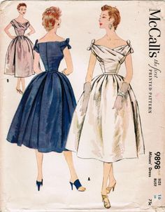 All pattern pieces and instruction sheet are present and in good condition Envelope is rough around the edges and has a few tears as shown. Vintage Dresses 50s, Vintage Dress Patterns, Vintage Outfits, 1950s Dresses, 50s Vintage, Vintage Clothing, 1950s Fashion, Vintage Fashion, Club Fashion