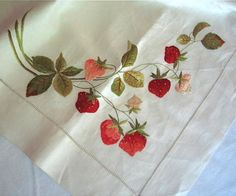 Society Silk Embroidered Tablecloth in Linen with Strawberry Design C 1900 Crewel Embroidery, Hand Embroidery Patterns, Ribbon Embroidery, Cross Stitch Embroidery, Embroidery Designs, Thread Painting, Embroidered Silk, Sewing Crafts, Needlework