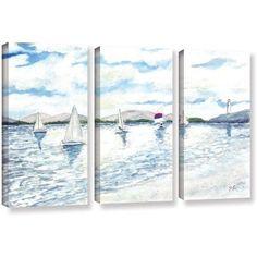 ArtWall Derek Mccrea Sailboats 2 inch 3-Piece Gallery-wrapped Canvas Set, Size: 24 x 36, White