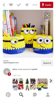 Milyonlar Minions, Crochet Baskets, Crochet Purses, Circles, Lana, Purses And Bags, Knit Crochet, Recycling, Projects To Try