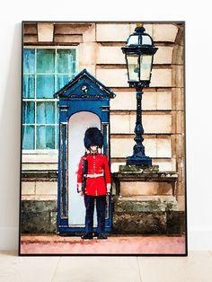 Watercolor Print, Watercolor Paintings, London Painting, Queens Guard, Travel Wall Art, Art Folder, London Art, Buckingham Palace, Travel Posters