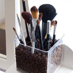 Organized, easy, fun and functional. Use Coffee beans and it smells good in the morning when your doing your make up too. Marbles, beans and other things will work too
