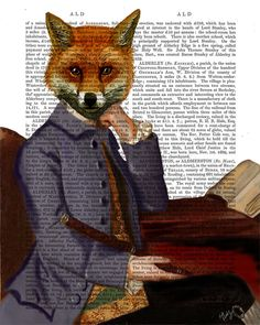Fox Print with Flute Art Print Acrylic Painting Giclee by FabFunky, $15.00