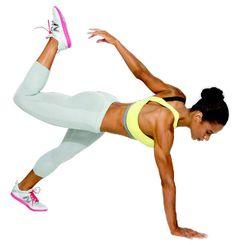 Ponte en forma como las estrellas. Estira la rodilla izquierda, eleva la pierna derecha a la altura de la cadera y lleva el brazo izquierdo hacia el pie. Después repítelo 30 veces de cada lado.