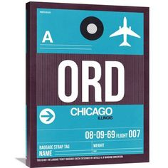 Naxart 'ORD Chicago Luggage Tag 1' Painting Print on Wrapped Canvas Size: