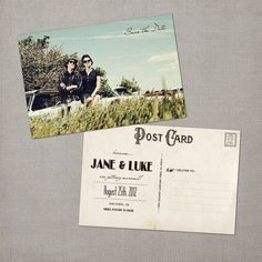 Jane - Vintage Save the Date Postcard.