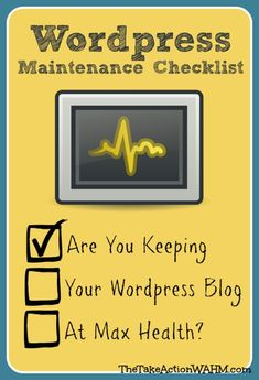 WordPress Blog Maintenance Checklist: 5 Essential Tasks You MUST Stay On Top Of #blogtips #wordpress http://thetakeactionwahm.com/wordpress-maintenance-tasks/?utm_campaign=coschedule&utm_source=pinterest&utm_medium=Kelly%20The%20Take%20Action%20WAHM%20(The%20Take%20Action%20WAHM)&utm_content=WordPress%20Blog%20Maintenance%20Checklist%3A%205%20Essential%20Tasks%20You%20MUST%20Stay%20On%20Top%20Of