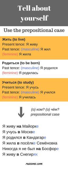Я родилась в России. Я жила в Украине. Я училась в Новосибирске. Я живу в Новосибирске. А вы где живёте?
