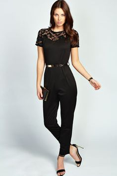 Lacey Sweetheart Lace Insert Belted Ponte Jumpsuit at boohoo.com