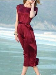Classical Round Neck Silk Maxi Dress
