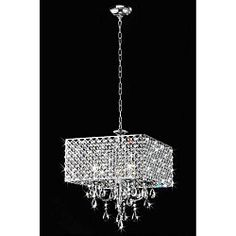 @Overstock.com - Chrome/ Crystal 4-light Square Chandelier - Light up your home with this elegant square chrome chandelier. This stunning piece features crystal and is designed to be used with four candelabra bulbs. The chandelier is meant for indoor use and can light rooms up to 300 square feet in size.  http://www.overstock.com/Home-Garden/Chrome-Crystal-4-light-Square-Chandelier/4737579/product.html?CID=214117 $182.69