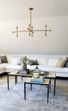 7 Ideas to Steal from the Boston Magazine Design Home: 6. Hang a pendant over the coffee table