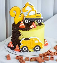 Digger Birthday Cake, 2nd Birthday Party For Boys, Digger Cake, 25th Birthday Cakes, Fancy Cookies, Cake Cookies, Cupcake Cakes, Excavator Cake, Car Cakes For Boys