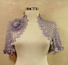 Lilac Dreams / Crochet Bridal Shrug Bolero / Flower by lilithist