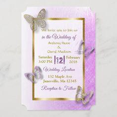 Butterfly Wedding Invitations, Wedding Invitation Size, Shabby Chic Wedding Invitations, Invitation Card Design, Elegant Invitations, Elegant Wedding Invitations, Custom Invitations, February Wedding, Wedding Gifts