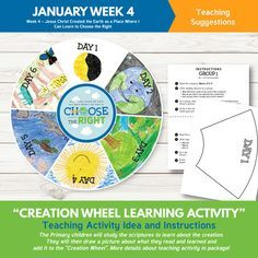 2017 Primary January week 4: Jesus Christ Created the Earth as a Place Where I Can Learn to Choose the Right - sharing time printable helps.  This is such an awesome packet filled with teaching helps and ideas!   www.theredheadedhostess.com