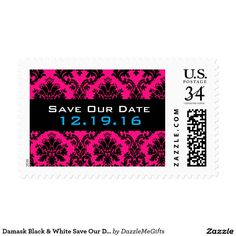 Damask Black & White Save Our Date Postage Stamp