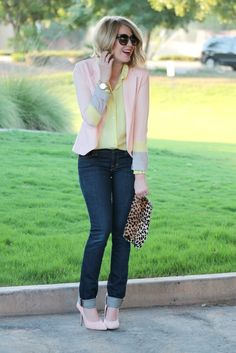 Pastel Layers / Love this Color Block Blazer!