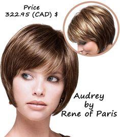 Audrey Wig by Rene of Paris Price: 322.95 (CAD)$ #shortwig   #shortwigscanada   #wigs  #naturalwig http://www.hairandbeautycanada.ca/audrey/