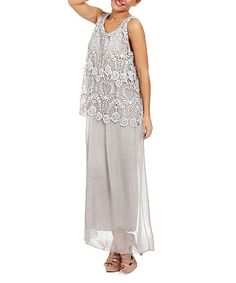 Love this Light Gray Lace Sleeveless Silk-Blend Maxi Dress on #zulily! #zulilyfinds