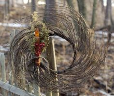 Twig Wreath with Grungy Taper-