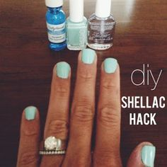 "shellac hack - ""love this. bought everything at CVS and Sally's Beauty Suppply. lasts for 7-8 days. comes off with regular nail polish. starts to peel & chip quick towards the end of 1 week. other than that. way cheaper than gel manicures from a salon."""
